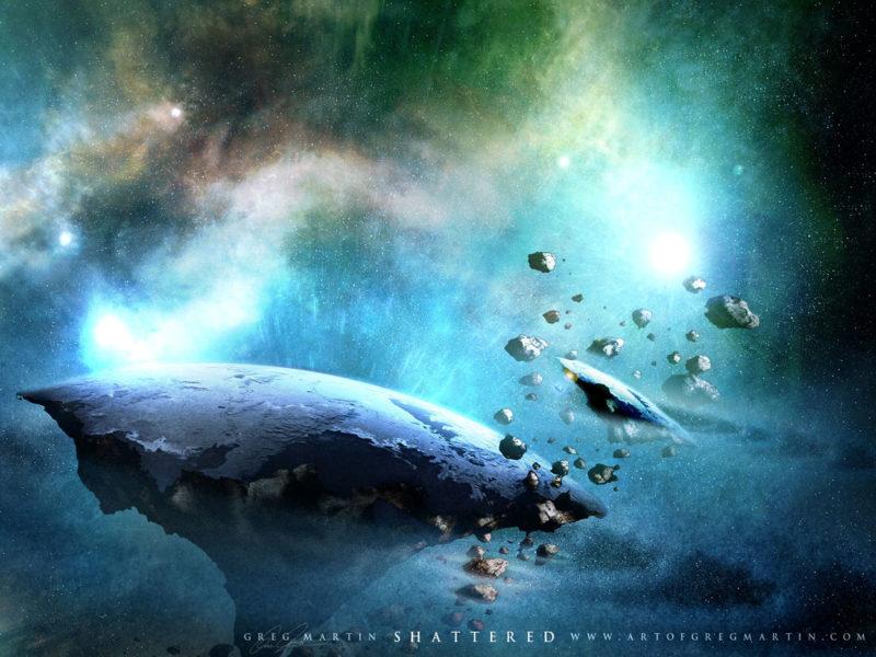 shattered, space art, world destroy