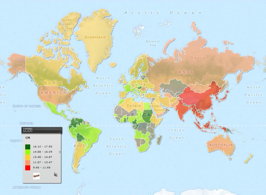 Misure del pene, dimensioni del pene, lunghezza del pene nel mondo