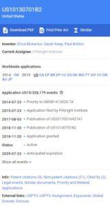 Pagina del brevetto Coronavirus