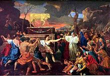 Cosa significa idolatria Adorazione del Vitello d'oro di Nicolas Poussin.